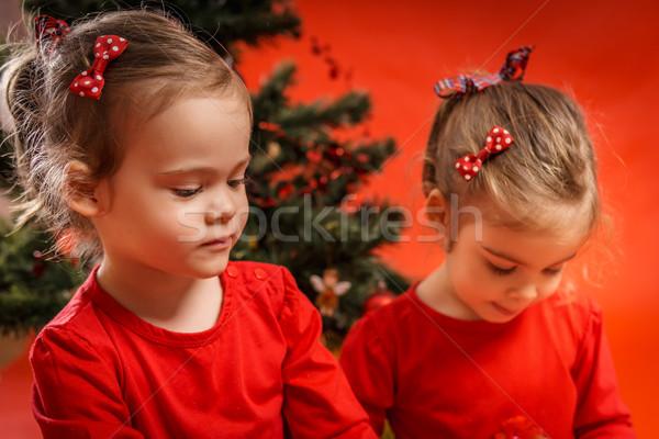 Iki kızlar noel ağacı oturma ağaç Stok fotoğraf © superelaks