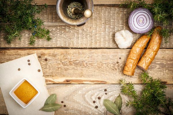 Pişirme malzemeler sosis ahşap masa kâğıt gıda Stok fotoğraf © superelaks