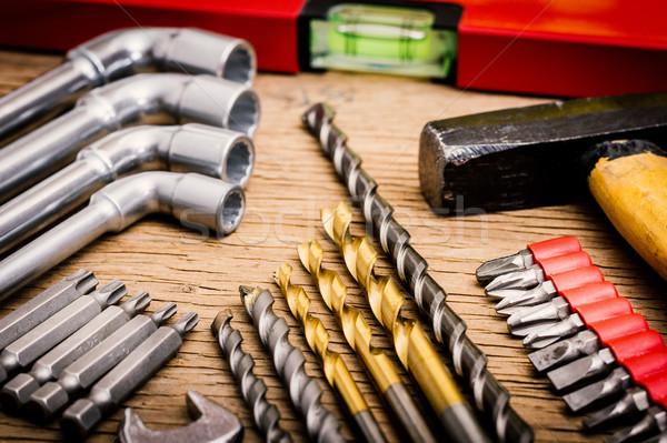 Araçları atölye ahşap masa eski inşaat arka plan Stok fotoğraf © superelaks