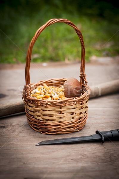 Sepet mantar tablo lezzetli ahşap masa gıda Stok fotoğraf © superelaks