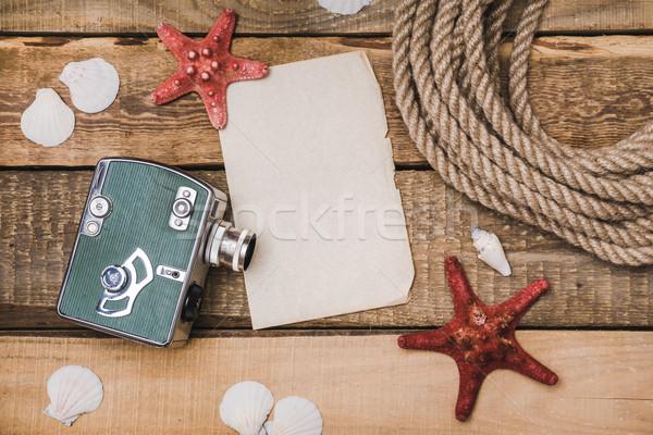 Tatil kâğıt halat kamera Eski kağıt kabukları Stok fotoğraf © superelaks