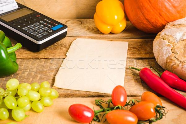 Kâğıt tablo boş kağıt sebze arka plan Stok fotoğraf © superelaks
