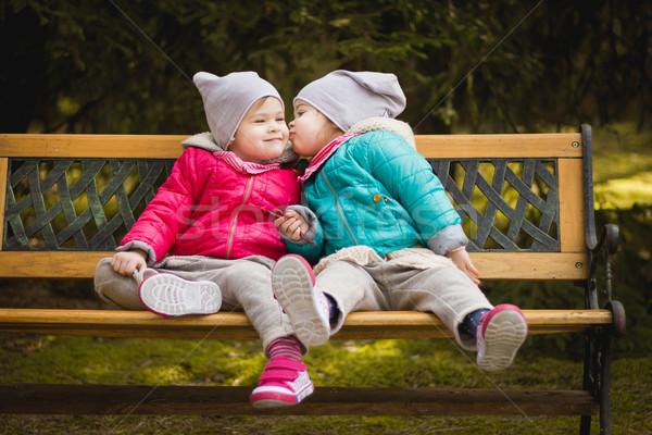 Vermek diğer öpücük iki kızlar Stok fotoğraf © superelaks