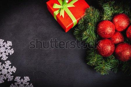 Noel hediyeler siyah tablo kar Stok fotoğraf © superelaks