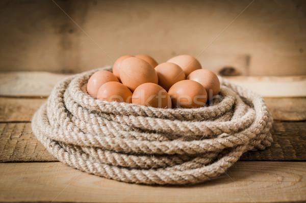 Yumurta sepet halat ahşap masa Paskalya doğa Stok fotoğraf © superelaks