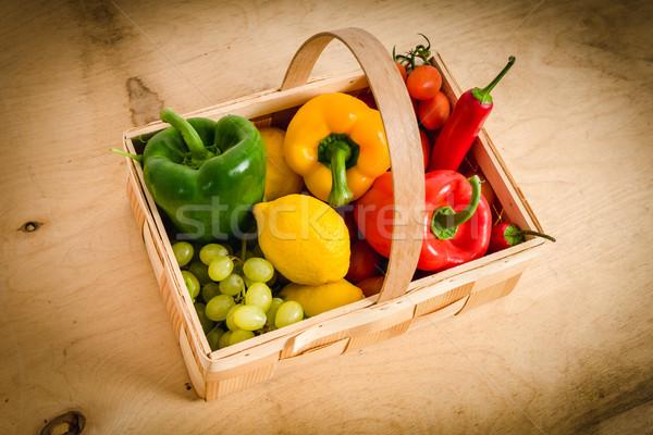Sepet sebze tablo taze sebze ahşap masa gıda Stok fotoğraf © superelaks