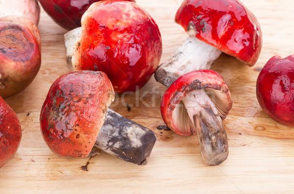 Stock fotó: Friss · rózsás · gombák · fából · készült · tányér · piros