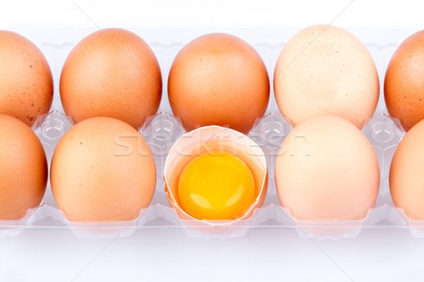 Yumurta yumurta sarısı plastik şeffaf paket beyaz Stok fotoğraf © supersaiyan3