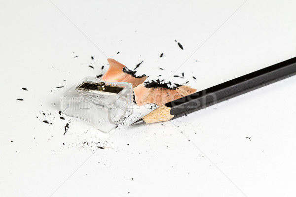 Pencil with sharpening shavings on white background Stock photo © supersaiyan3