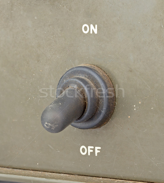 old black toggle switch on green surface - off Stock photo © supersaiyan3