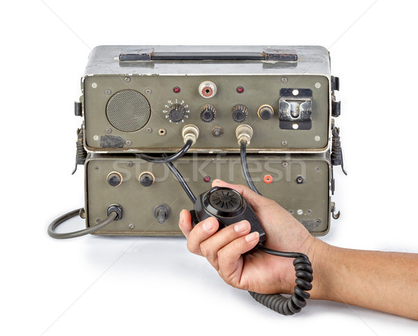 dark green amateur ham radio holding in hand on white background Stock photo © supersaiyan3