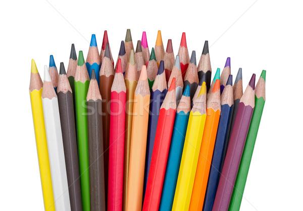 Stok fotoğraf: Renkli · kalemler · yalıtılmış · beyaz · ahşap · dizayn