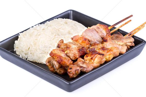 Rizs grillezett disznóhús thai kedvenc reggeli Stock fotó © supersaiyan3