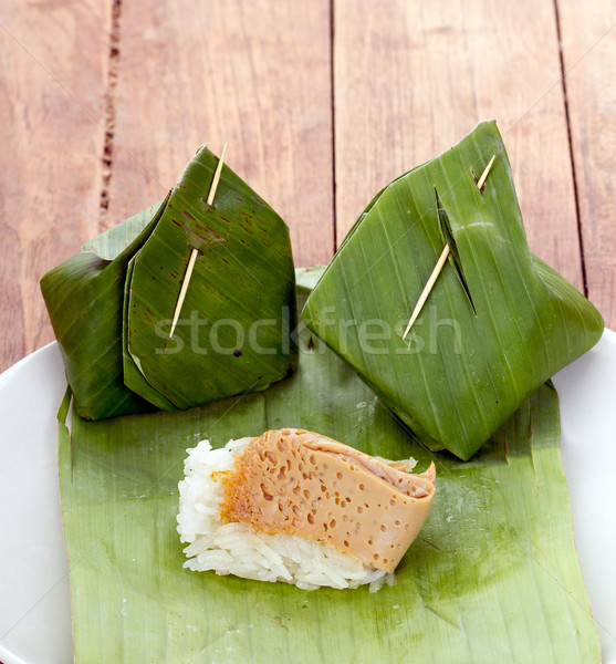 タイ デザート コメ カスタード 白 皿 ストックフォト © supersaiyan3
