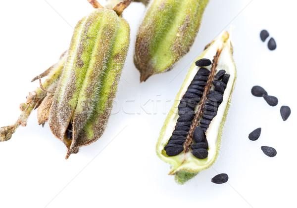 Növény fekete szezám zárva felfelé fehér Stock fotó © supersaiyan3