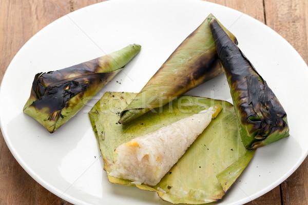 Stok fotoğraf: Taylandlı · tatlı · pirinç · tatlı · patates · muz · yaprak