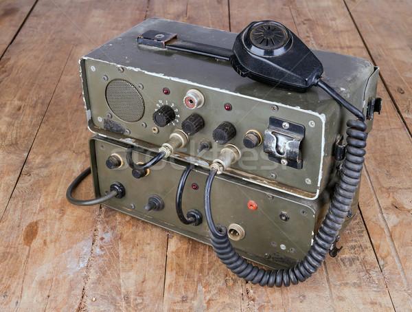 Starych amator szynka radio drewniany stół ciemne Zdjęcia stock © supersaiyan3