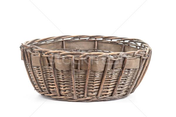 Ciemne brązowy wiklina koszyka biały retro Zdjęcia stock © supersaiyan3