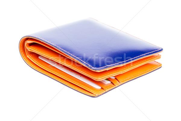 Blauw oranje leder portemonnee witte business Stockfoto © supersaiyan3