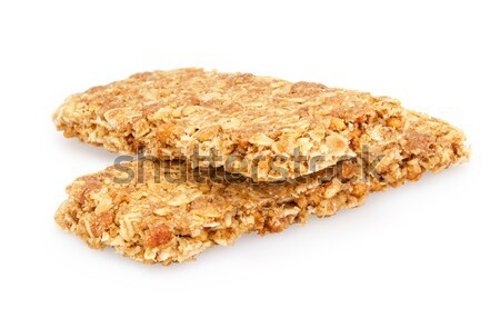 Foto stock: Saludable · granola · bar · blanco · fondo · desayuno