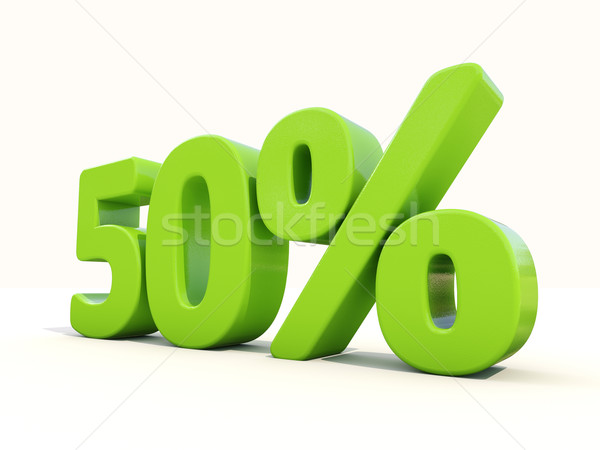 50 percentagem taxa ícone branco cinqüenta Foto stock © Supertrooper