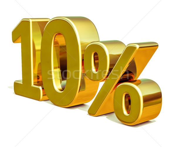 3d Gold 10 Ten Percent Discount Sign Stock photo © Supertrooper