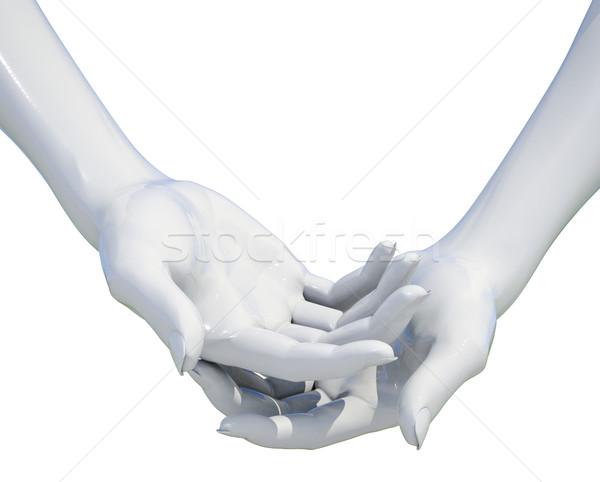 Donna mano isolato qualcosa bianco Foto d'archivio © Supertrooper