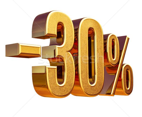 Stock fotó: 3D · arany · 30 · százalék · árengedmény · felirat