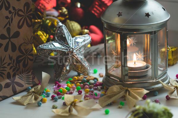 Рождества натюрморт фонарь сжигание свечу Новый год Сток-фото © Supertrooper