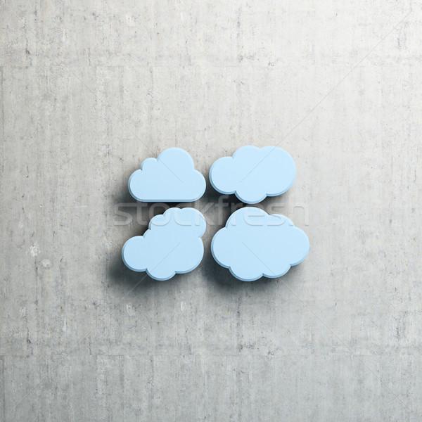 Felhő alapú technológia kék felhők beton copy space absztrakt Stock fotó © Supertrooper