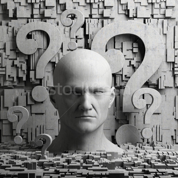 Thinking man statue and question marks Stock photo © Supertrooper