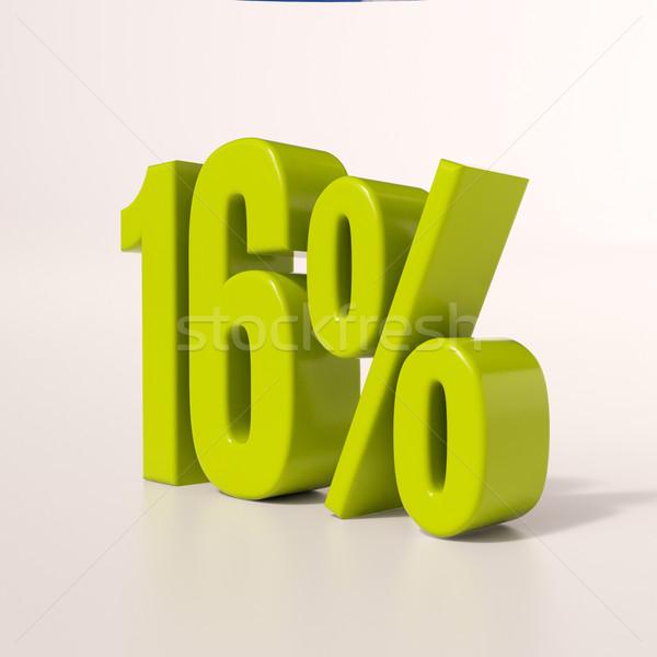Percentuale segno 16 cento rendering 3d verde Foto d'archivio © Supertrooper