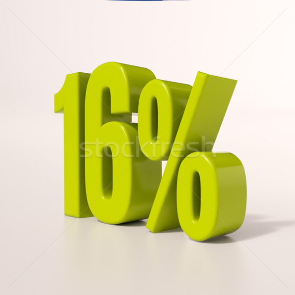 процент знак 16 процент 3d визуализации зеленый Сток-фото © Supertrooper