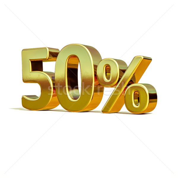 Stock fotó: 3D · arany · 50 · százalék · felirat · 3d · render