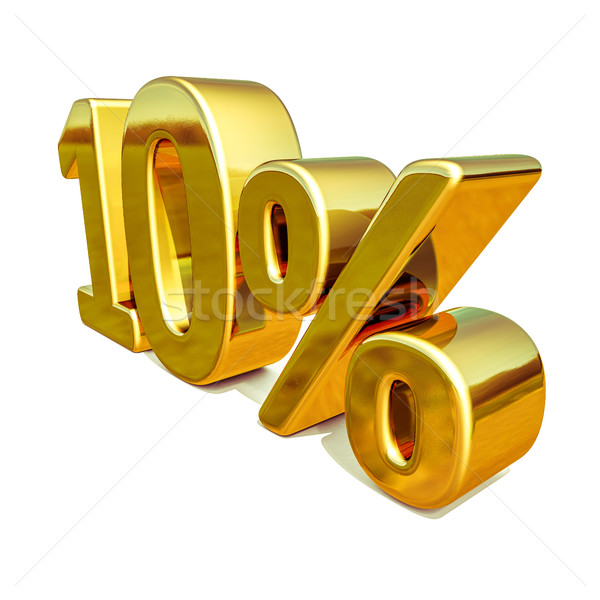 3d Gold 10 Ten Percent Discount Sign Stock photo © Supertrooper