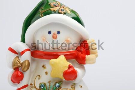 Derűs hóember fény tél játék üdvözlet Stock fotó © Supertrooper