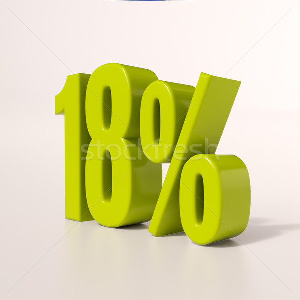 Percentage teken 18 procent 3d render groene Stockfoto © Supertrooper