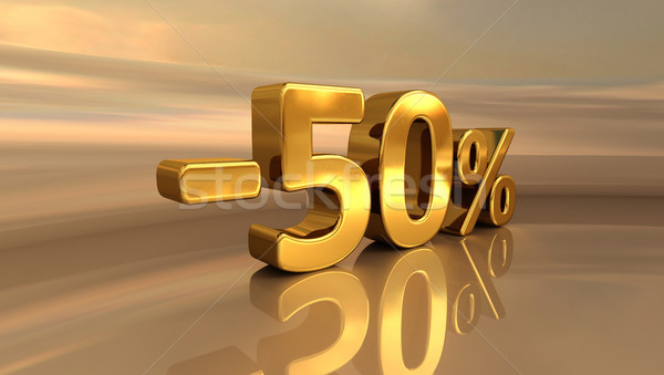 3d Gold -50%, Minus Fifty Percent Discount Sign Stock photo © Supertrooper