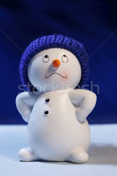 Derűs hóember kék tél játék üdvözlet Stock fotó © Supertrooper