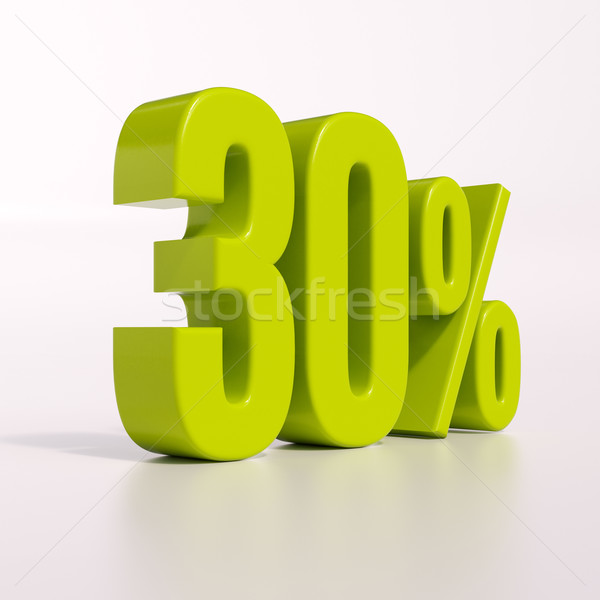 Yüzde imzalamak 30 yüzde 3d render yeşil Stok fotoğraf © Supertrooper