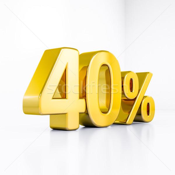 Oro por ciento signo 40 descuento 3D Foto stock © Supertrooper