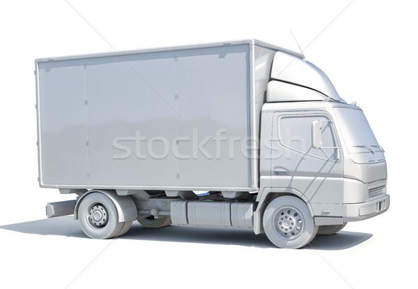 3D fehér szállítóautó ikon 3d render szolgáltatás Stock fotó © Supertrooper