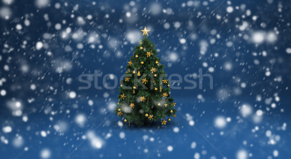 Christmas tree and snow Stock photo © Supertrooper