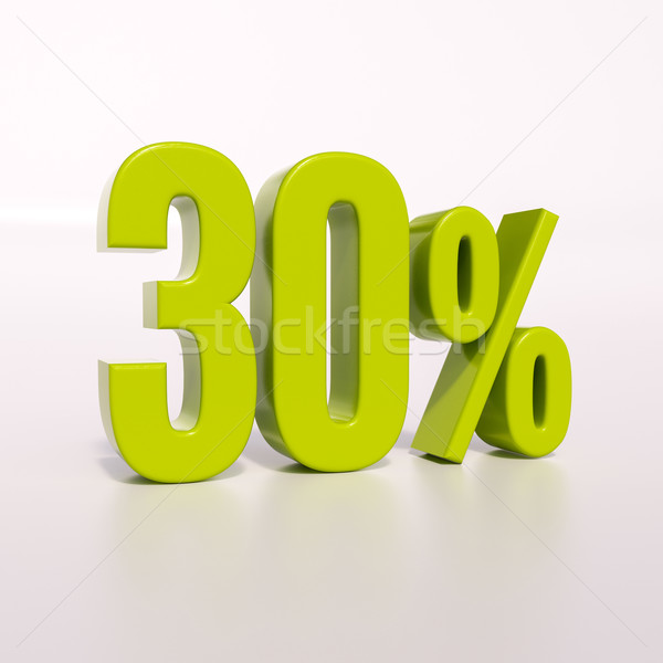 Foto stock: Percentagem · assinar · 30 · por · cento · 3d · render · verde
