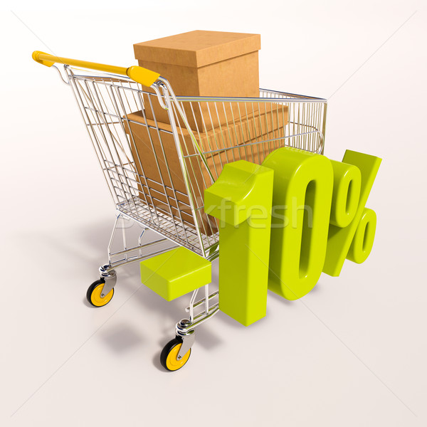 Shopping cart and percentage sign, 10 percent Stock photo © Supertrooper