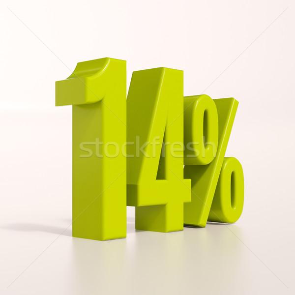 Százalék felirat 14 százalék 3d render zöld Stock fotó © Supertrooper