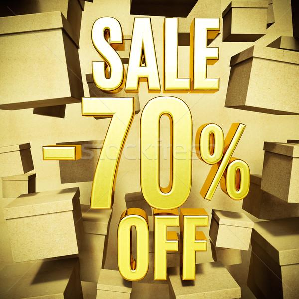 Goud procent teken af korting 3D Stockfoto © Supertrooper