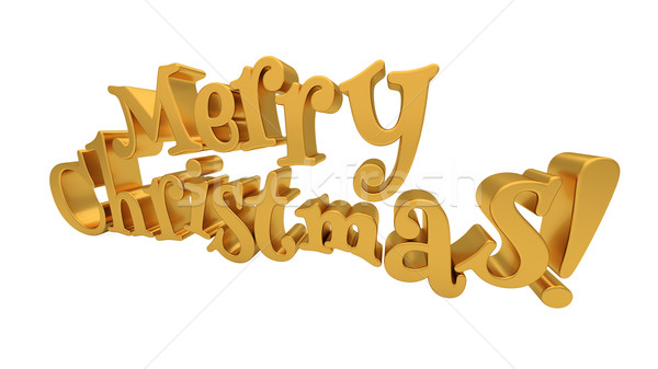 Merry Christmas lettering isolated Stock photo © Supertrooper