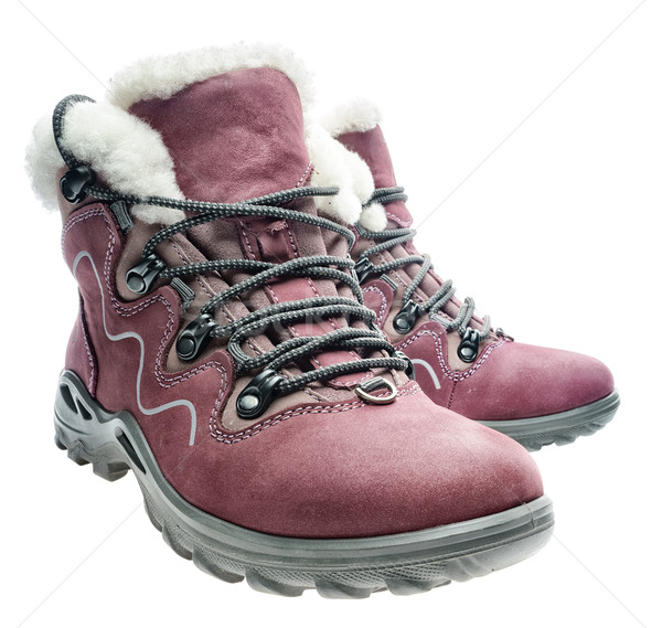 Fur women's winter  boots on white Stock photo © Supertrooper