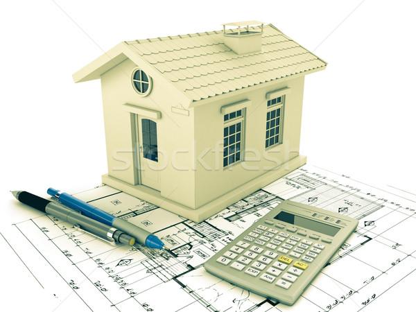 Tervez otthon terv ceruza számológép 3D Stock fotó © Supertrooper